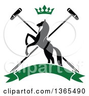 Clipart Of A Black Silhouetted Rearing Horse Over Crossed Polo Mallets With A Crown And A Blank Green Banner Royalty Free Vector Illustration by Vector Tradition SM