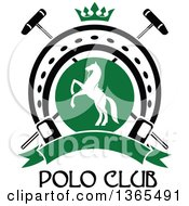 Clipart Of A White Silhouetted Rearing Horse In A Horseshoe Over Crossed Polo Mallets And A Crown With A Blank Banner Over Text Royalty Free Vector Illustration by Vector Tradition SM