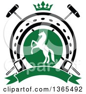 Clipart Of A White Silhouetted Rearing Horse In A Horseshoe Over Crossed Polo Mallets And A Crown With A Blank Banner Royalty Free Vector Illustration