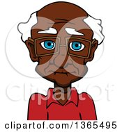 Clipart Of A Cartoon Bespectacled Black Senior Man Royalty Free Vector Illustration by Vector Tradition SM