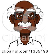 Clipart Of A Cartoon Bespectacled Black Senior Man Royalty Free Vector Illustration