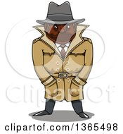 Clipart Of A Cartoon Black Male Detective With His Hands In His Pockets Royalty Free Vector Illustration by Vector Tradition SM