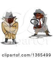 Clipart Of Cartoon Black Male Detectives Royalty Free Vector Illustration by Vector Tradition SM