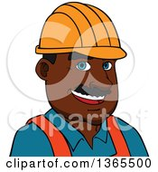 Clipart Of A Cartoon Avatar Of A Happy Black Male Contractor Wearing A Hardhat Royalty Free Vector Illustration by Vector Tradition SM