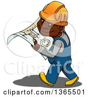 Clipart Of A Cartoon Happy Black Male Construction Worker Walking With Plans Royalty Free Vector Illustration by Vector Tradition SM