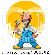 Clipart Of A Cartoon Happy Black Male Construction Worker Holding A Wrench Over A City Royalty Free Vector Illustration
