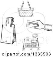 Clipart Of Black And White Sketched Hand Holding A Credit Card Cash Register Shopping Basket And Bag Royalty Free Vector Illustration by Vector Tradition SM