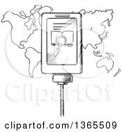 Black And White Sketched Plugged In Cell Phone Searching Over A Map