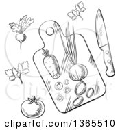 Clipart Of A Black And White Sketched Cutting Board And Veggies Royalty Free Vector Illustration