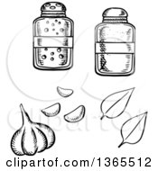 Clipart Of A Black And White Sketched Garlic Bulb Basil Leaves Salt And Pepper Shakers Royalty Free Vector Illustration by Vector Tradition SM