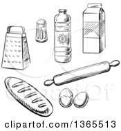 Clipart Of Black And White Sketched Baking Items Royalty Free Vector Illustration by Vector Tradition SM