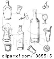 Clipart Of Black And White Sketched Bottles And Alcoholic Beverages Royalty Free Vector Illustration