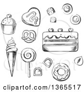 Clipart Of Black And White Sketched Candy And Sweets Royalty Free Vector Illustration by Vector Tradition SM