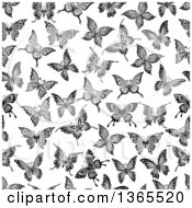 Seamless Black And White Butterfly Background Pattern