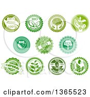 Clipart Of Green Bio Eco And Natural Designs Royalty Free Vector Illustration