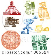 Poster, Art Print Of Mayan Aztec Hieroglyph Art Designs Of A Pyramid Warrior Bird Turtle Lizard Fish And Sun