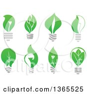 Clipart Of Green Leaf Light Bulbs Royalty Free Vector Illustration