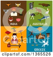 Clipart Of India Australia Japan And Greece Designs Royalty Free Vector Illustration