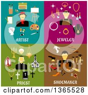Clipart Of Artist Jeweler Priest And Shoemaker Designs Royalty Free Vector Illustration
