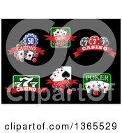 Clipart Of Poker Casino Designs Over Black Royalty Free Vector Illustration