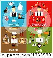 Clipart Of Waiter Bartender Baker And Chef Designs Royalty Free Vector Illustration