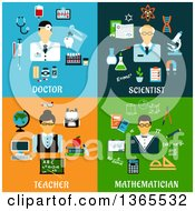 Clipart Of Doctor Scientist Teacher And Mathematician Designs Royalty Free Vector Illustration
