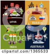 Clipart Of Japan Russia India And Australia Designs Royalty Free Vector Illustration