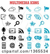 Black And Blue Multimedia Icons