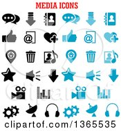 Black And Blue Media Icons