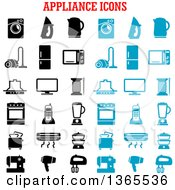 Clipart Of Black And Blue Appliance Icons Royalty Free Vector Illustration