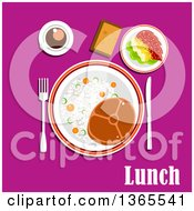 Clipart Of A Beef Steak Rice And Vegetables Tomato Salad With Cheese Cup Of Coffee And Bread Over Lunch Text On Pink Royalty Free Vector Illustration