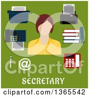 Clipart Of A Flat Design Faceless Secretary Woman With Accessories Over Text On Green Royalty Free Vector Illustration