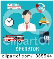 Clipart Of A Flat Design Faceless Emergency Operator With Accessories Over Text On Blue Royalty Free Vector Illustration by Vector Tradition SM