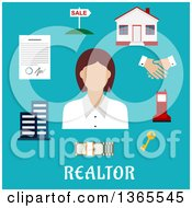 Poster, Art Print Of Flat Design Faceless Realtor Woman With Accessories Over Text On Blue
