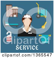 Clipart Of A Flat Design Faceless Hotel Maid With Accessories Over Text On Blue Royalty Free Vector Illustration