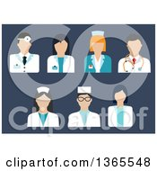 Clipart Of A Flat Design Faceless Doctor Surgeon Veterinarian And Nurse Avatars On Blue Royalty Free Vector Illustration by Vector Tradition SM