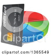 Clipart Of A 3d Credit Card And Pie Graph Royalty Free Vector Illustration