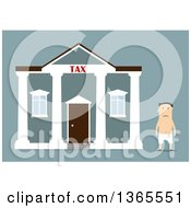 Clipart Of A Flat Design Nearly Naked White Man After Leaving The Tax Office On Blue Royalty Free Vector Illustration