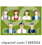Flat Design Faceless Business Man Banker Sales Manager Store Cashier Bank Manager And Shop Assistant Avatars On Green