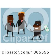 Clipart Of Flat Design Black Security Guards Catching A Robber Stealing Money Over Blue Royalty Free Vector Illustration