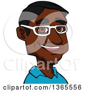 Clipart Of A Cartoon Avatar Of A Happy Black Man Wearing Glasses Royalty Free Vector Illustration by Vector Tradition SM