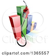 Clipart Of A 3d Gas Pump Nozzle Over A Colorful Bar Graph Royalty Free Vector Illustration by Vector Tradition SM