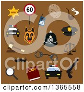 Clipart Of Flat Design Sherrif And Police Items Over Brown Royalty Free Vector Illustration
