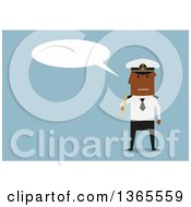 Clipart Of A Flat Design Black Male Captain Holding A Telescope And Talking On Blue Royalty Free Vector Illustration by Vector Tradition SM