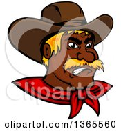 Clipart Of A Mad Black Male Cowboy Wearing A Red Bandana Royalty Free Vector Illustration by Vector Tradition SM