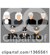 Clipart Of Flat Design Faceless Judge Priest Police Officer And Detective Avatars On Gray Royalty Free Vector Illustration