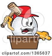 Clipart Of A Golf Ball Sports Mascot Character Auctioneer Royalty Free Vector Illustration by Toons4Biz