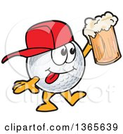 Clipart Of A Golf Ball Sports Mascot Character Wearing A Cap And Holding Up A Beer Royalty Free Vector Illustration by Toons4Biz