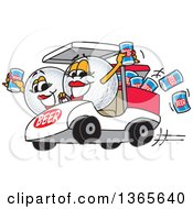 Clipart Of Golf Ball Sports Mascot Babes With Beer Cans In A Cart Royalty Free Vector Illustration