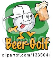 Clipart Of A Golf Ball Sports Mascot Character Holding A Beer Over Text Royalty Free Vector Illustration by Toons4Biz